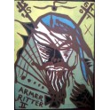 Jonathan Meese, woodcut, 2005, signed